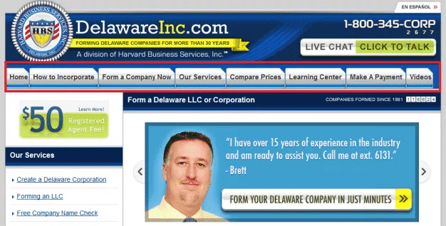 DelaWareInc website