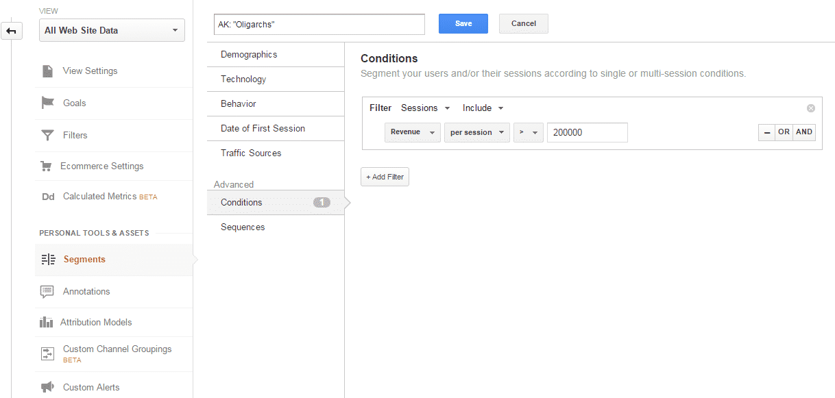 Google Analytics Conditions