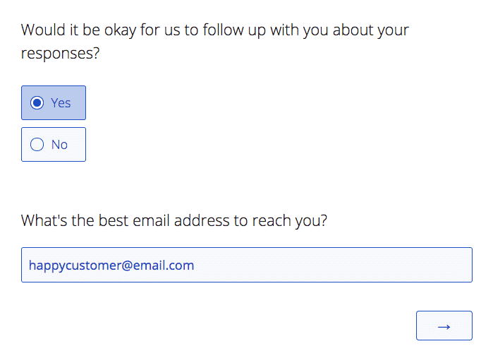 Permission to have a follow-up with the customer NPS